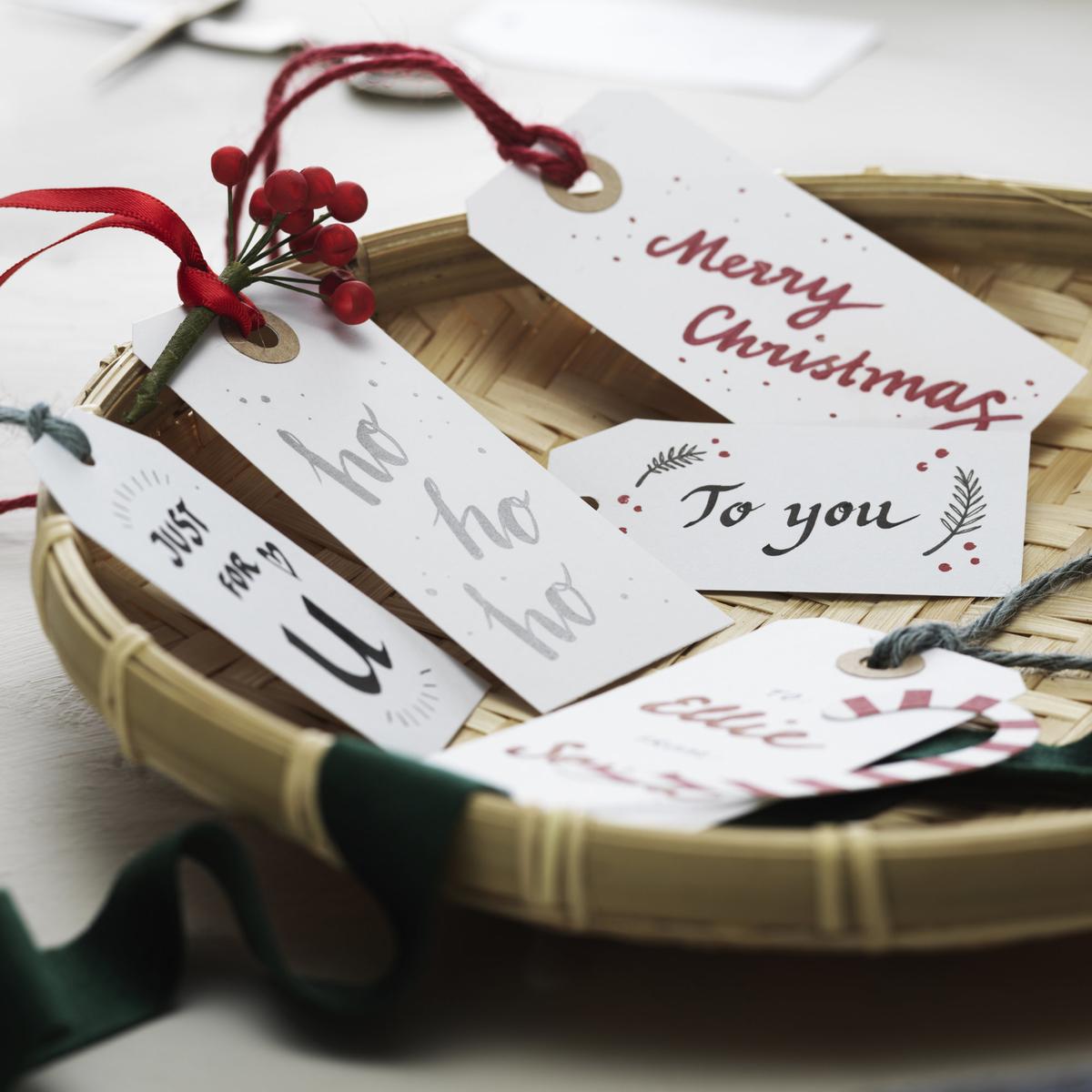 Juletiketter med Brush Lettering